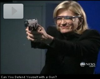Diane Sawyer plays with guns.